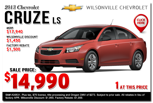 2013 Chevrolet Cruze LS Manual Sales Special Portland, Oregon