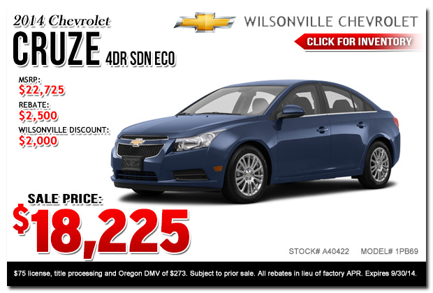 new 2014 chevy cruze special discount offers portland or. Cars Review. Best American Auto & Cars Review