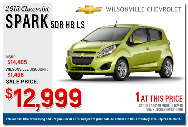2015 chevrolet spark sales specials portland or. Cars Review. Best American Auto & Cars Review