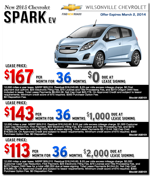 Chevrolet Leases: New 2015 Chevrolet Spark Lease Specials